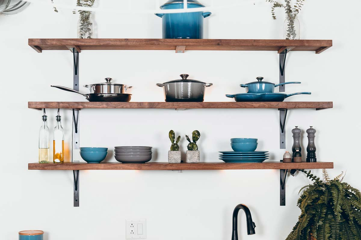 Open Shelving and Exposed Plate Racks